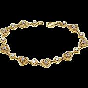 Pretty Sterling Vermeil and Diamonds Filigree Hearts Bracelet