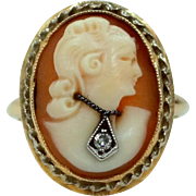 10k Gold Carved Shell Habille Cameo Diamond Ring