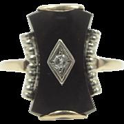 Retro 10k White and Yellow Gold Onyx & Diamond Ring