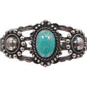 Native American Signed Sterling Silver Arrow Turquoise Cuff Bracelet