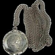 1940's Sterling Silver Sliding Medal on Sterling Chain