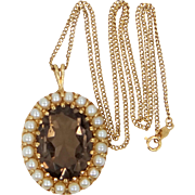 Heavy 14k Gold Smokey Topaz and Cultured Pearls Necklace