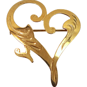Vintage 18k Gold Finely Etched Abstract Heart Pin
