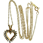 10k Gold and Diamonds Heart Necklace