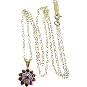 10k Gold Diamonds and Natural Rubies Necklace