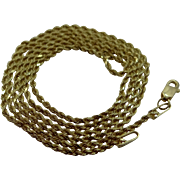 "14k Gold Diamond Cut 20"" Long Necklace Chain"