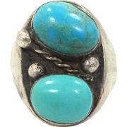 HUGE Man's Sterling Silver and Double Turquoise Native American Ring Size 14 1/2