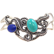 Gorgeous Solid Sterling Silver Turquoise & Lapis Cuff Bracelet Southwestern Motif