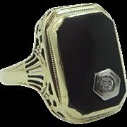 Art Deco 14k Yellow Gold Black Onyx and Diamond Mourning Ring