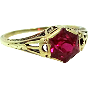 Victorian 14k Yellow Gold Filigree Ruby Ring