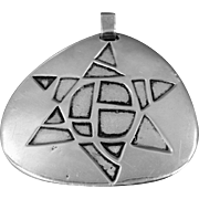 Star of David Large Abstract 2 Sided Solid Sterling Silver Pendant