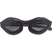 1960's MOD Black Lucite French Sun Glasses with Dark Lenses