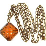 1930's Celluloid & Lucite Backcarved Imbedded Necklace