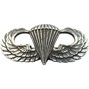 WWII Sterling Silver Paratrooper Air Force Wings Pin