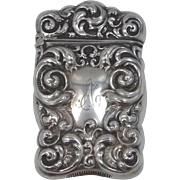"Victorian Sterling Silver Match Safe Vesta Engraved ""A"""