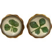 Hickok Four Leaf Clover Under Crystal Cufflinks Cuff Links