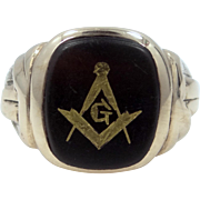 1930's 10k Gold Masonic Ring