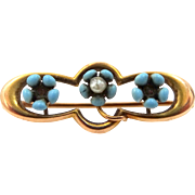 Victorian 10k Gold Blue Enamel and Seed Pearl Pin
