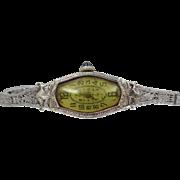 14k White Gold Art Deco Filigree Bracelet Watch with 14k Filigree Watch Band