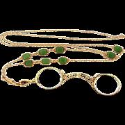 14k Gold Victorian Lorgnette on 14k Gold & Emeralds Chain