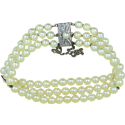 Signed MIKIMOTO Sterling Silver Cultured Pearls 3 Strand Bracelet
