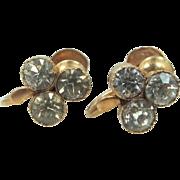 Late Victorian 14k Gold Screw Back Paste Earrings