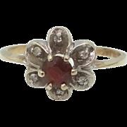 Lady's 10k Gold Garnet & Diamond Ring