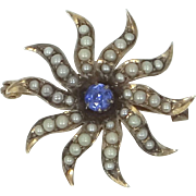 Victorian 10k Gold Seed Pearls and Blue Topaz Starburst Pin