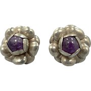 Mexico Sterling Silver & Genuine Amethysts Screw Back Earrings