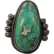 1940's Sterling Silver and Turquoise Southwestern Ring