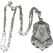 1920's Art Deco 14k Gold Camphor Glass and Diamond Filigree Necklace with Original Paperclip Chain