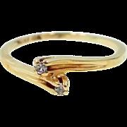 10k Gold 2 Diamond Crossover Ring