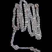 Art Deco White Gold Fld. Filigree Necklace / Lorgnette Chain