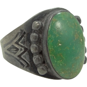 1920's Solid Sterling & Turquoise Native American Ring