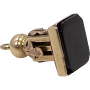 Victorian 10k Gold Black Onyx Charm or Watch Fob