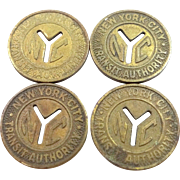 "4 Brass 1950's New York City Transit Authority Tokens with Cut out ""Y's"""