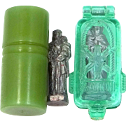 Bakelite & Celluloid Reliquaries Holding Pocket Statues St. Joseph w/Child Jesus & St. Anthony Padua w/Child Jesus