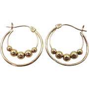 14k Gold Hoop Earrings With 4 Moveable Beads
