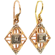 14k Gold Art Deco Filigree Dangle Diamond Earrings