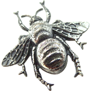 Detailed Sterling Silver Figural Bee Pin