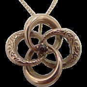 Victorian 10k Gold Garnet Love Knot Necklace