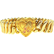 1940's Gold Filled Stretch Heart Bracelet with Rose Gold Trim