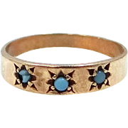 Victorian 10k Gold Turquoise Baby Ring