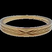 """14k Gold """"Enduring"""" Stacking Band Wedding Ring Size 6"""