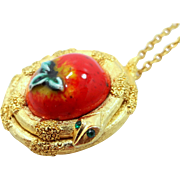 Neat 1970's Coiled Serpent and the Apple Solid Perfume Compact Necklace