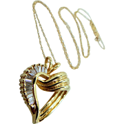 Heavy 14k Gold Baguette Diamonds Heart Necklace 0.80 tcw