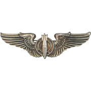 """U.S. Army Air Force Early 1900's Solid Sterling Silver Bombardier Wings 3 1/8"""" Wide"""