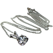 14k White Gold Quartz Necklace
