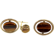 LaMode Gold Filled and Genuine Tiger Eye Cufflinks and Tie Tack