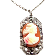 1920's Sterling Silver Marcasites Shell Cameo Necklace